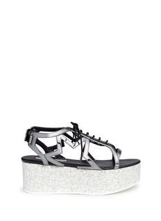 Stella McCartney 'Lucy' marble effect platform metallic sandals