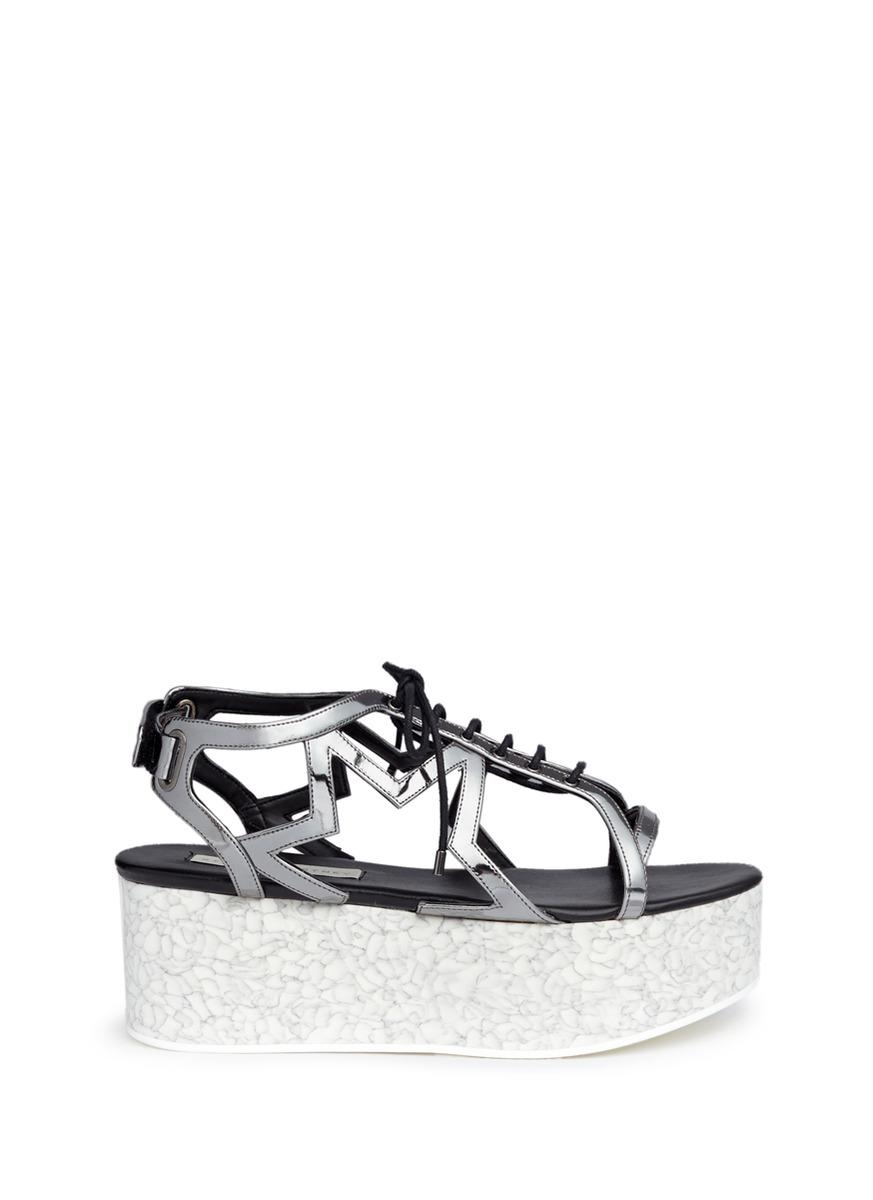 Lucy marble effect platform metallic sandals by Stella McCartney