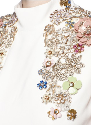 Detail View - Click To Enlarge - Alexander McQueen - Jewel embellished open back crepe gown