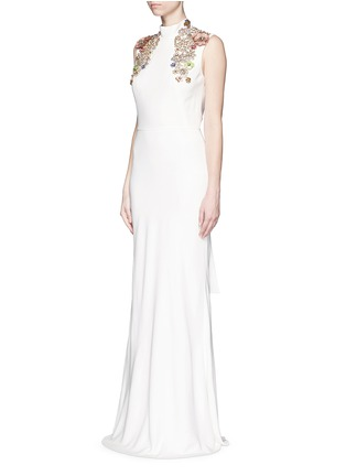 Front View - Click To Enlarge - Alexander McQueen - Jewel embellished open back crepe gown