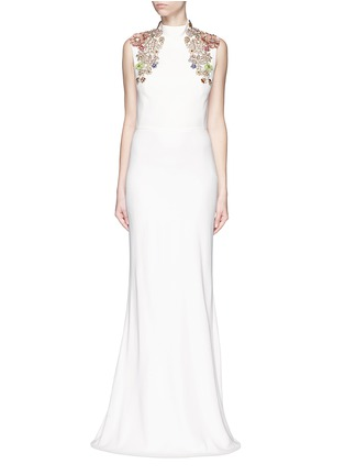 Main View - Click To Enlarge - Alexander McQueen - Jewel embellished open back crepe gown