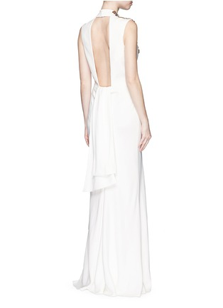 Figure View - Click To Enlarge - Alexander McQueen - Jewel embellished open back crepe gown