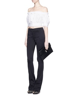 ALEXANDER MCQUEEN Lace trim cotton cropped Bardot top