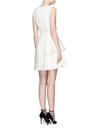 Back View - Click To Enlarge - Alexander McQueen - Pleat waist V-neck flare dress