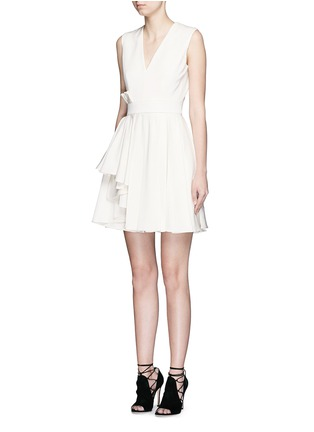 Front View - Click To Enlarge - Alexander McQueen - Pleat waist V-neck flare dress