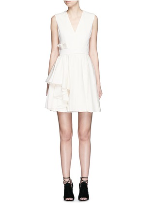 Main View - Click To Enlarge - Alexander McQueen - Pleat waist V-neck flare dress