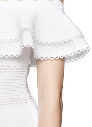 Detail View - Click To Enlarge - Alexander McQueen - Ruffle knit Bardot dress