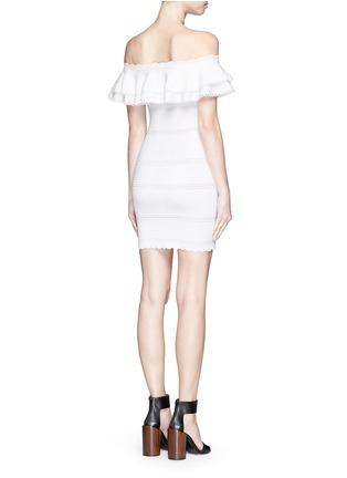 Back View - Click To Enlarge - Alexander McQueen - Ruffle knit Bardot dress