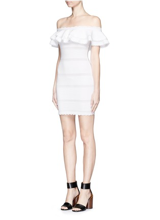 Front View - Click To Enlarge - Alexander McQueen - Ruffle knit Bardot dress
