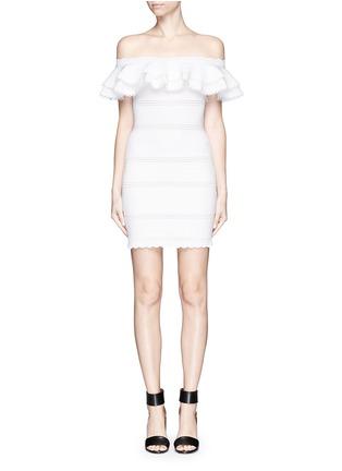 Main View - Click To Enlarge - Alexander McQueen - Ruffle knit Bardot dress