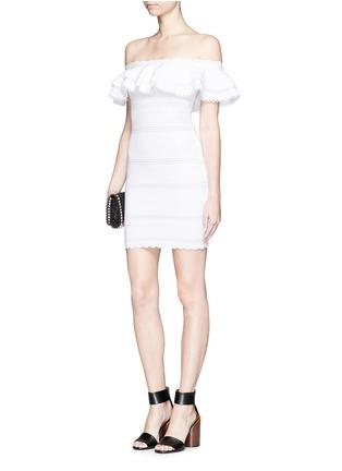 Figure View - Click To Enlarge - Alexander McQueen - Ruffle knit Bardot dress