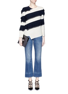 ALEXANDER MCQUEENAsymmetric ruffle stripe sweater