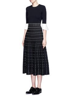 ALEXANDER MCQUEENWoven stripe knit midi skirt