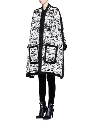 Front View - Click To Enlarge - Alexander McQueen - Camouflage intarsia knit cape jacket