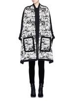 Camouflage intarsia knit cape jacket