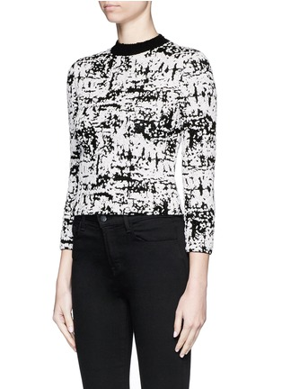 Front View - Click To Enlarge - Alexander McQueen - Camouflage strip intarsia cropped bouclé sweater