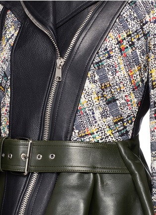 Detail View - Click To Enlarge - Alexander McQueen - Peplum hem cropped tweed leather jacket