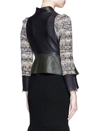 Back View - Click To Enlarge - Alexander McQueen - Peplum hem cropped tweed leather jacket