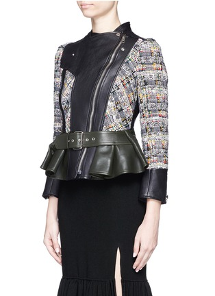 Front View - Click To Enlarge - Alexander McQueen - Peplum hem cropped tweed leather jacket
