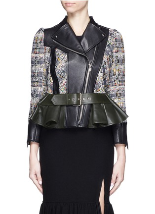 Main View - Click To Enlarge - Alexander McQueen - Peplum hem cropped tweed leather jacket