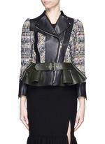Peplum hem cropped tweed leather jacket