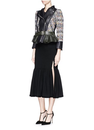 Figure View - Click To Enlarge - Alexander McQueen - Peplum hem cropped tweed leather jacket