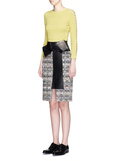 ALEXANDER MCQUEEN Leather bow checkerboard tweed skirt