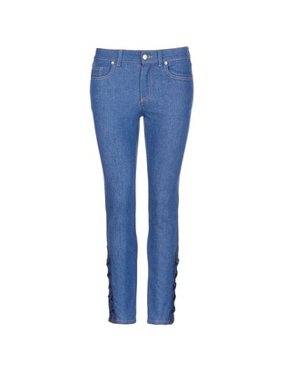 Main View - Click To Enlarge - Alexander McQueen - Lace-up hem cropped kick flare jeans