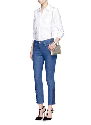 Figure View - Click To Enlarge - Alexander McQueen - Lace-up hem cropped kick flare jeans