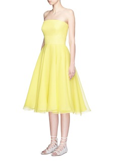ALEXANDER MCQUEEN Layer silk organza taffeta strapless dress