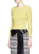 Dot texture scalloped seam sweater