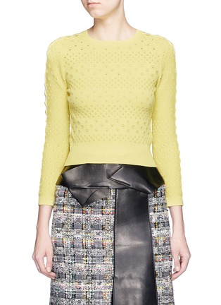Main View - Click To Enlarge - Alexander McQueen - Dot texture scalloped seam sweater