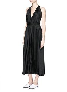 TOMEGrosgrain sash belt pleated dress