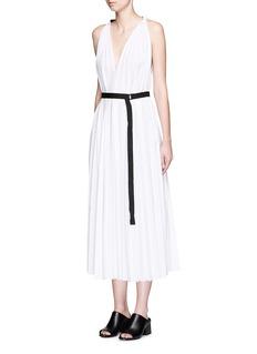 TOMEGrosgrain sash belt pleated poplin dress
