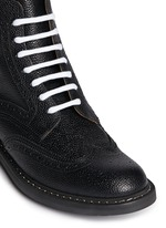 Full brogue leather Derby boots