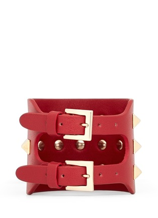 Back View - Click To Enlarge - Valentino - 'Rockstud' wide leather bracelet