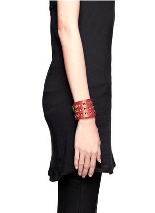 Figure View - Click To Enlarge - Valentino - 'Rockstud' wide leather bracelet