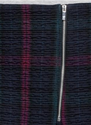 Detail View - Click To Enlarge - Elizabeth and James - 'Keller' texture check plaid wrap front mini skirt