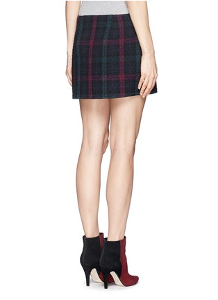 Back View - Click To Enlarge - Elizabeth and James - 'Keller' texture check plaid wrap front mini skirt