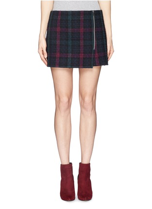 Main View - Click To Enlarge - Elizabeth and James - 'Keller' texture check plaid wrap front mini skirt