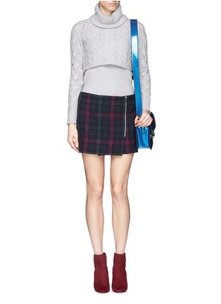 Figure View - Click To Enlarge - Elizabeth and James - 'Keller' texture check plaid wrap front mini skirt