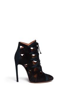 AZZEDINE ALAÏASuede cut out lace-up boots