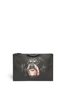 GIVENCHY 'Antigona' large Rottweiler print zip pouch
