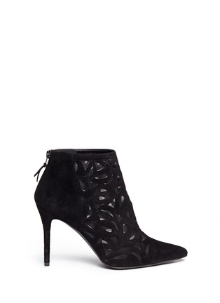 Main View - Click To Enlarge - Stuart Weitzman - Cutaway' suede and mesh booties
