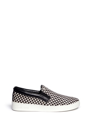 Main View - Click To Enlarge - Michael Kors - 'Keaton' houndstooth calf hair slip-ons
