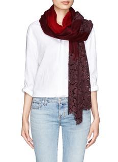VALENTINOLace panel wool-cashmere scarf