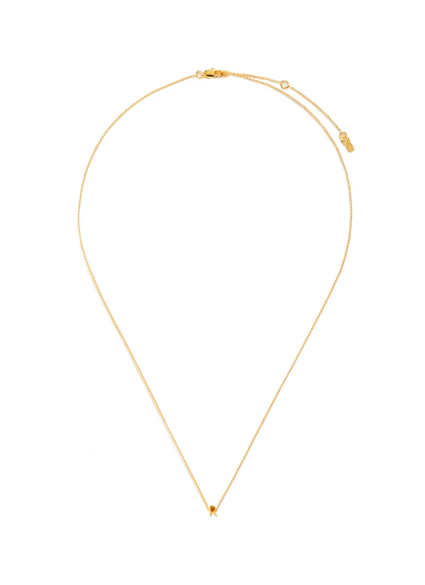 Initiale R diamond 16k gold plated necklace by Xr