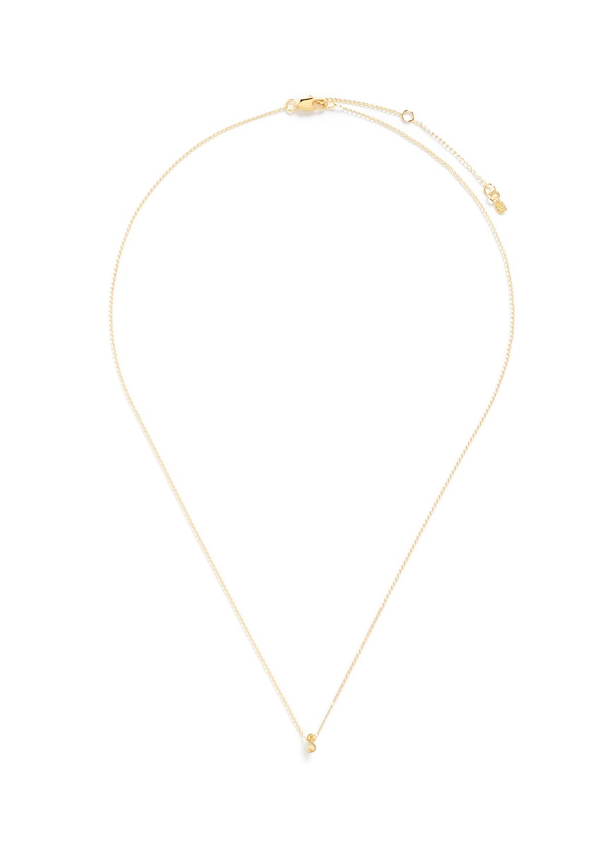 Initiale S diamond 16k gold plated necklace by Xr