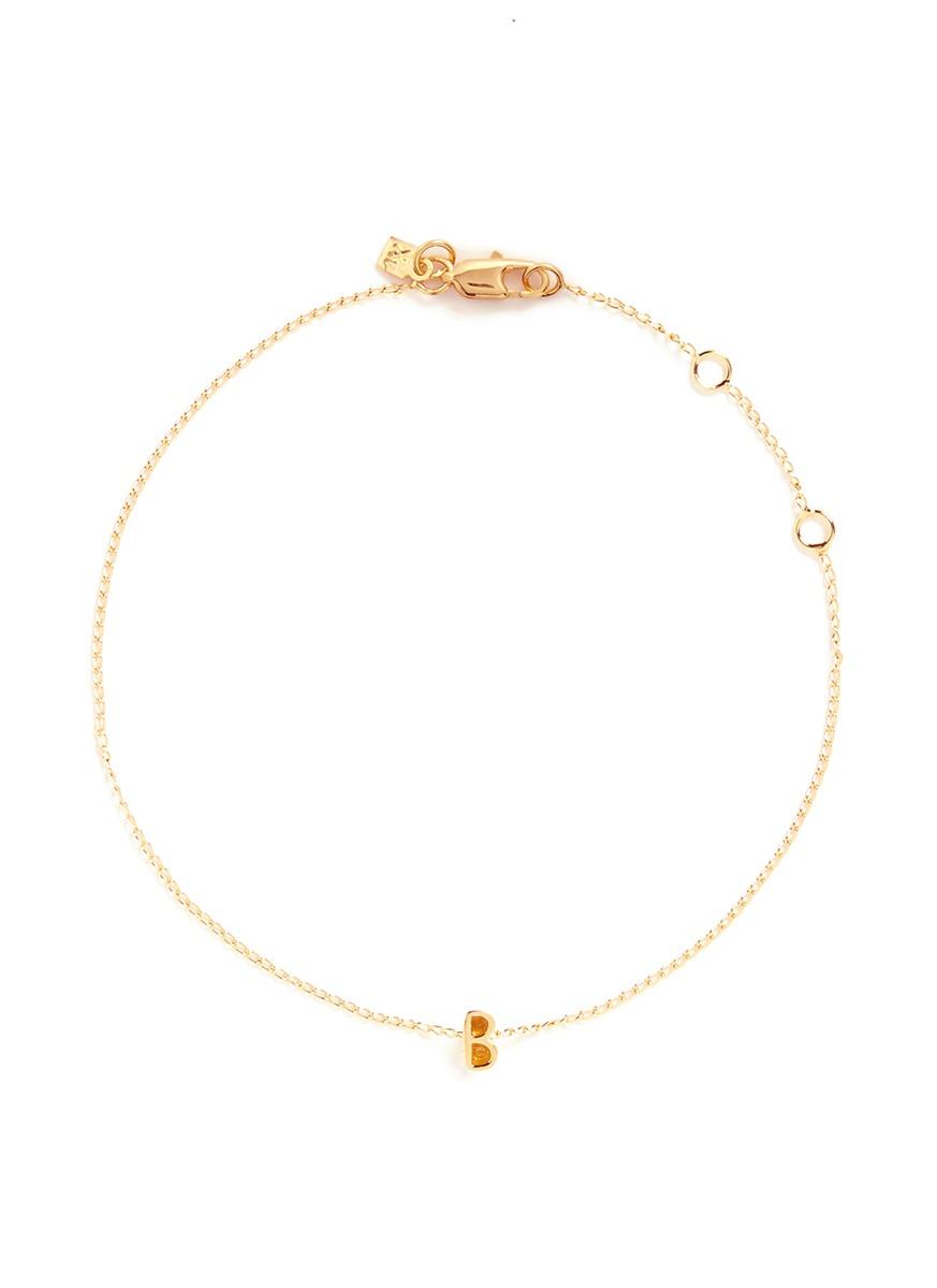 Initiale B diamond 16k gold plated bracelet by Xr