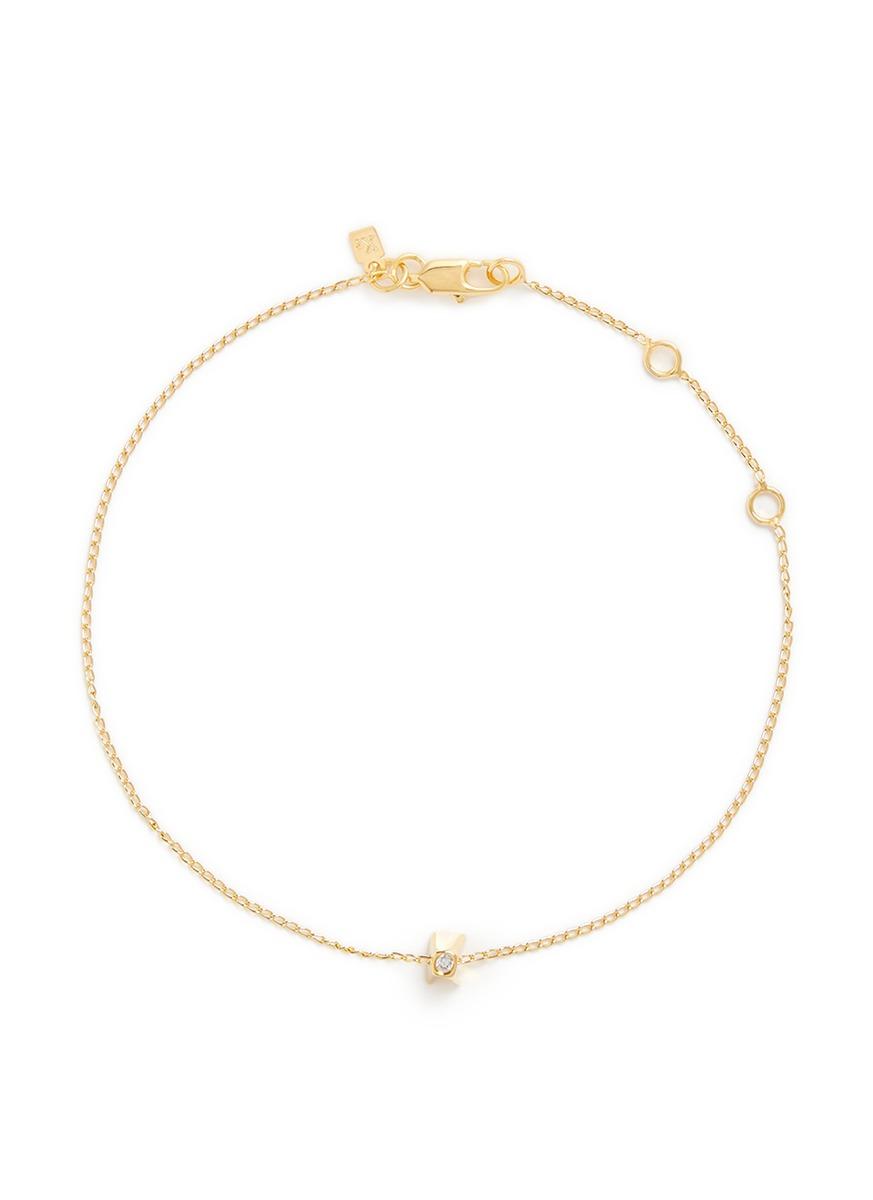 Initiale K diamond 16k gold plated bracelet by Xr